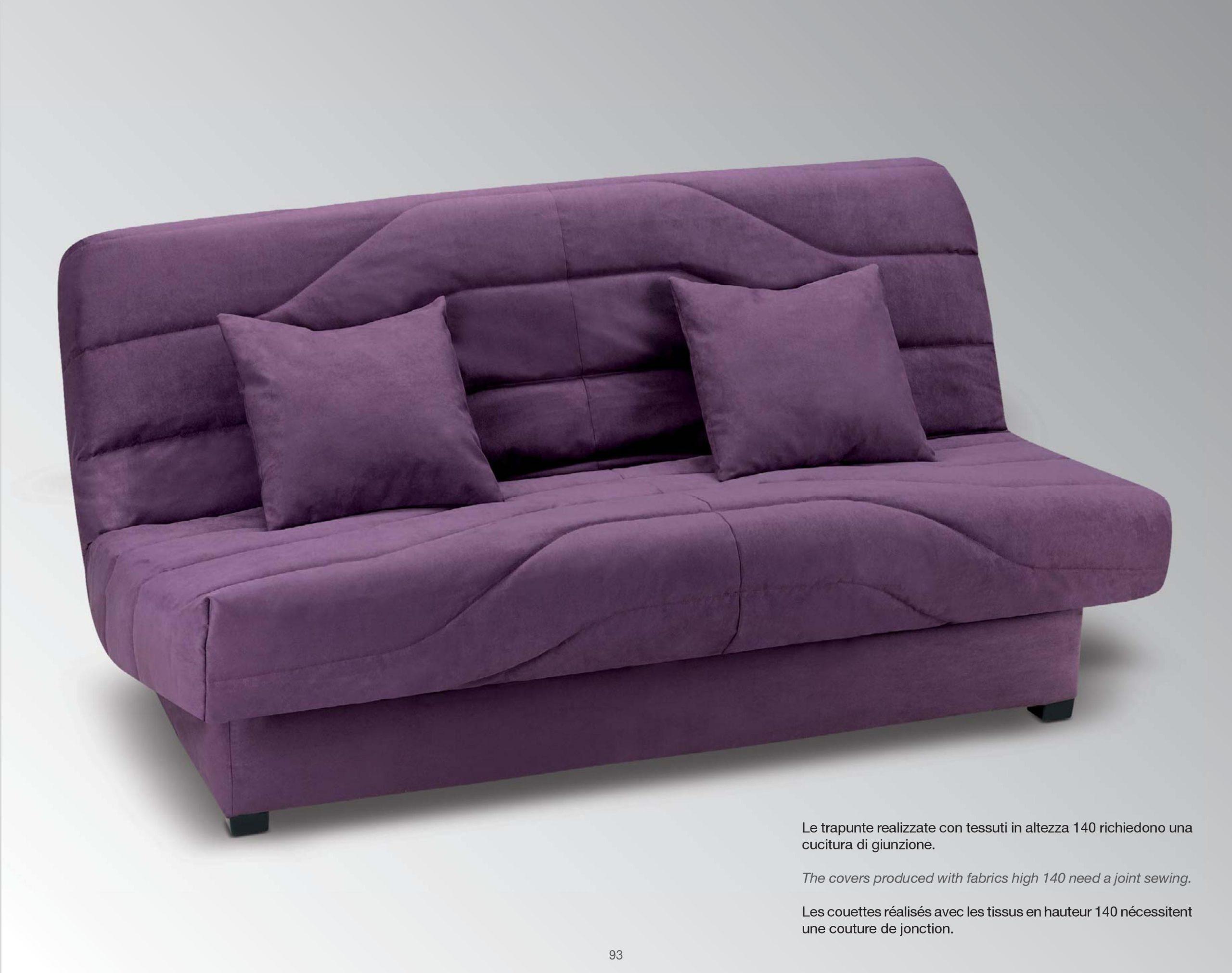 canapé lit clic-clac, haute résilience, 130×190 cm